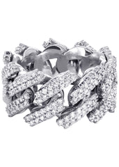 14K White Gold Diamond Cuban Link Ring | 20 Grams | 4.00 Carats MEN'S RINGS FROST NYC