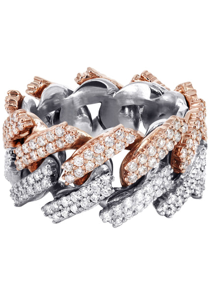 14K Rose And White Gold Diamond Cuban Link Ring | 20.11 Grams | 4.07 Carats