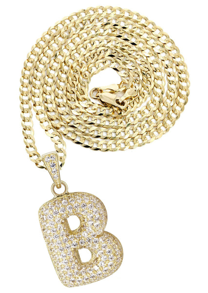 "10K Yellow Gold Cuban Chain & Bubble Letter ""B"" Cz Pendant 