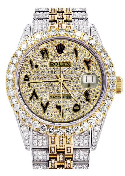 Iced Out Rolex Datejust 36 MM | Two Tone | 10 Carats of Diamonds | Full Diamond Arabic Diamond Dial