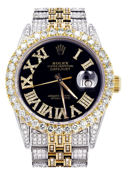 Iced Out Rolex Datejust 36 MM | Two Tone | 10 Carats of Diamonds | Black Roman Diamond Dial