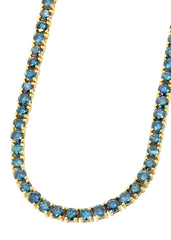 Mens Blue Diamond Gold Tennis Chain