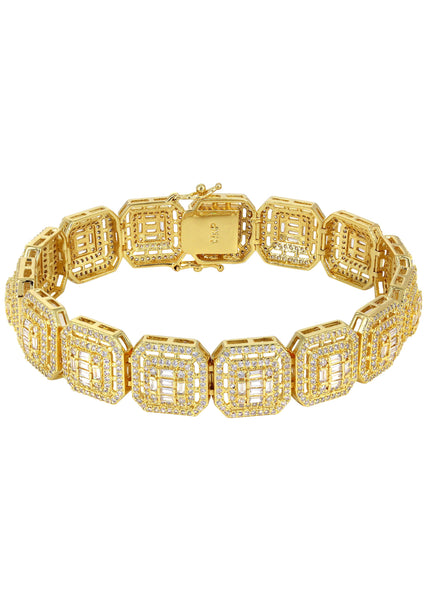 Gold Plated Iced Out Square Cluster Bracelet