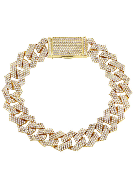 Iced Out Gold Plated Mens Prong Set Cuban Link Bracelet