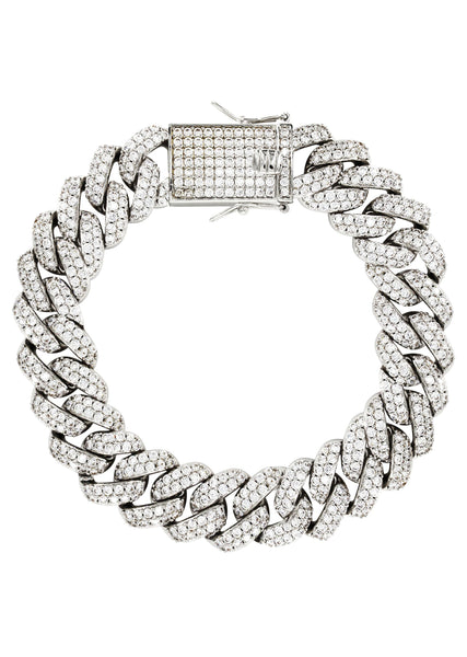 White Gold Plated Mens Iced Out Miami Cuban Link Bracelet