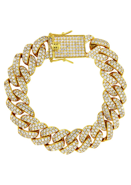 Gold Plated Mens Iced Out Miami Cuban Link Bracelet