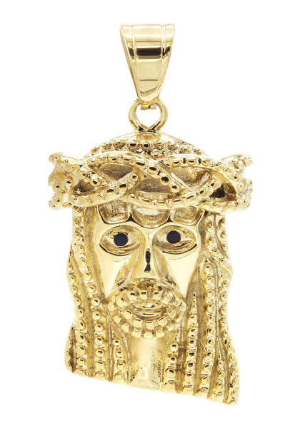 Mens Gold Plated Jesus Head Pendant | 24.8 Grams