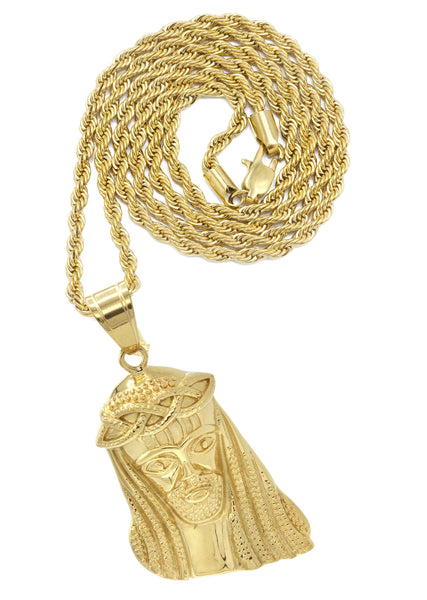Mens Gold Plated Rope Chain & Jesus Piece Chain | Appx. 22.5 Grams