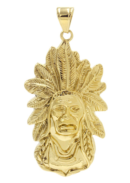 Mens Gold Plated Chief Head Pendant | 26.6 Grams