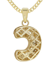 "10K Yellow Gold Cuban Chain & Bubble Letter ""C"" Cz Pendant 