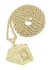 10K Yellow Gold Rope Chain & Cz Playing Cards Pendant | Appx. 17.3 Grams