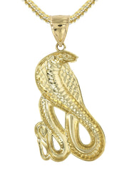 10K Yellow Gold Franco Chain & Gold Cobra Pendant | Appx. 21.7 Grams