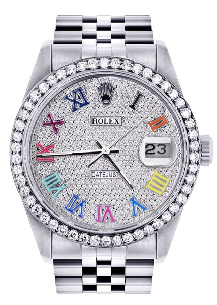 Diamond Mens Rolex Datejust Watch 16200  | 36MM | Full Diamond Color Roman Dial | Jubilee Band
