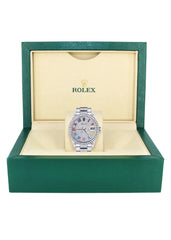 Diamond Mens Rolex Datejust Watch 16200  | 36MM | Full Diamond Color Roman Dial | Oyster Band