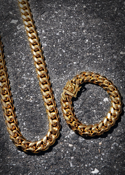 Solid Gold Plated Miami Cuban Link Chain & Bracelet ( 14 Mm )
