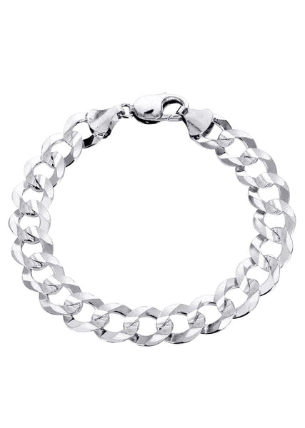 Solid Mens Cuban Link Bracelet 10K White Gold
