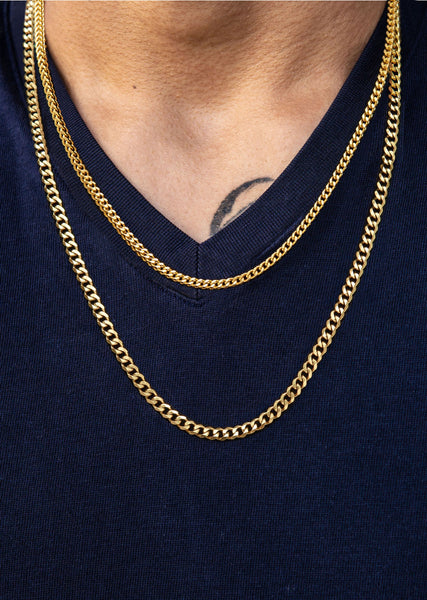 Gold Plated Cuban Chain & Franco Chain 4 MM