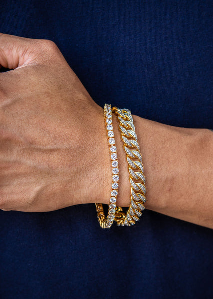 Gold Plated Miami Cuban Link Bracelet (10 MM ) & Tennis Bracelet