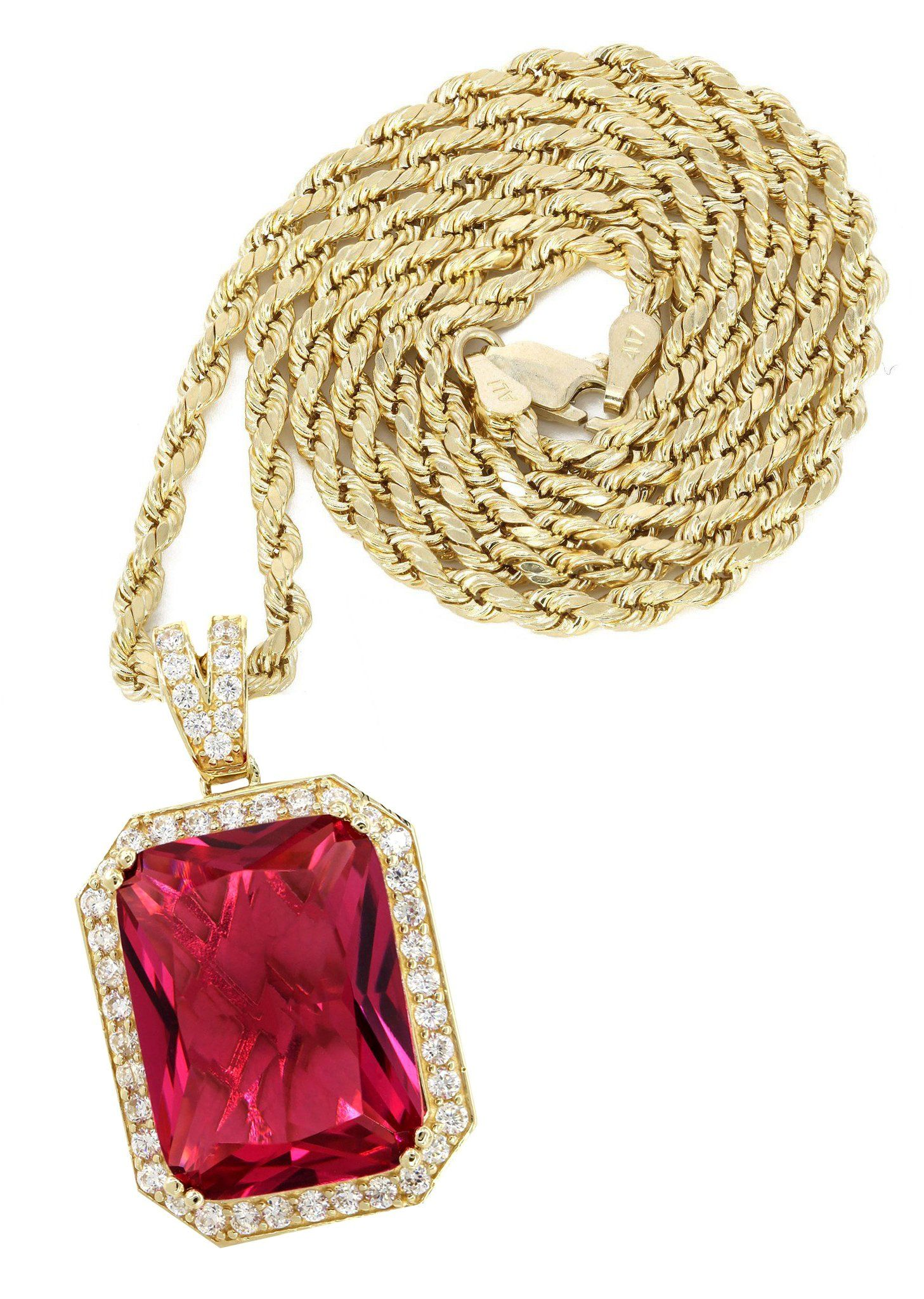10K Yellow Gold Rope Chain & Cz Ruby Pendant / Appx. 22 Grams