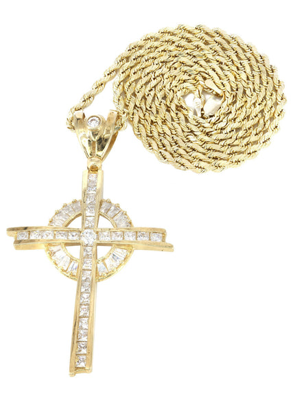 10K Yellow Gold Rope Chain & Cz Gold Cross Necklace | Appx. 18.3 Grams
