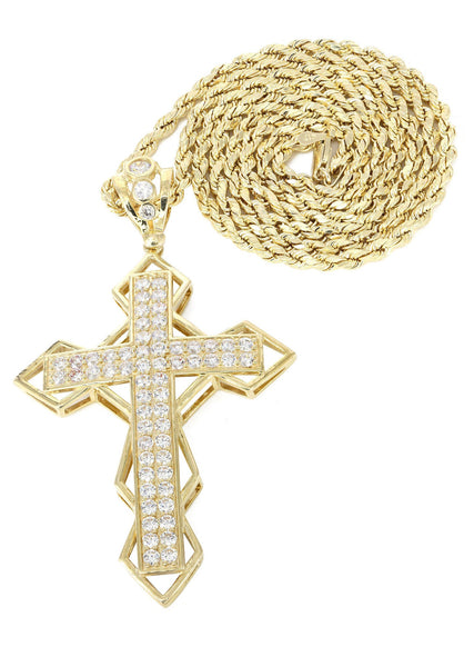 10K Yellow Gold Rope Chain & Cz Gold Cross Necklace | Appx. 21.2 Grams