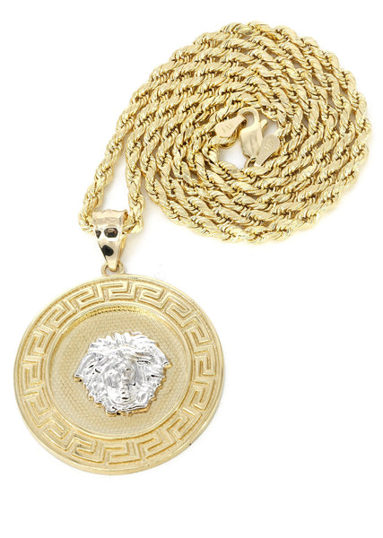 10K Yellow Gold Rope Chain & Versace Style Pendant | Appx. 14 Grams