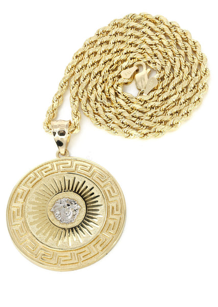 10K Yellow Gold Rope Chain & Versace Style Pendant | Appx. 18.4 Grams