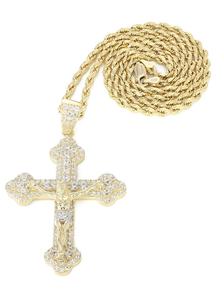 10K Yellow Gold Rope Chain & Cz Gold Cross Necklace | Appx. 17.9 Grams