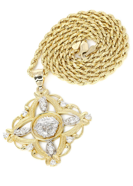 10K Yellow Gold Rope Chain & Versace Style Pendant | Appx. 12.7 Grams