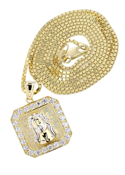 10K Yellow Gold Box Chain & Jesus Piece Chain | Appx. 7.1 Grams