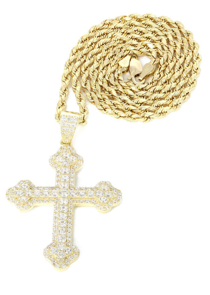 10K Yellow Gold Rope Chain & Cz Gold Cross Necklace | Appx. 12.4 Grams