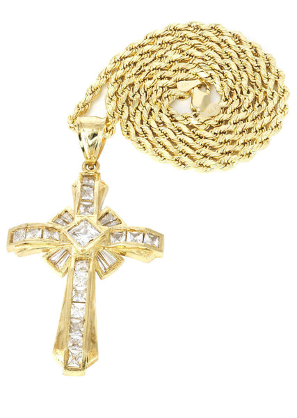 10K Yellow Gold Rope Chain & Cz Gold Cross Necklace | Appx. 15.3 Grams