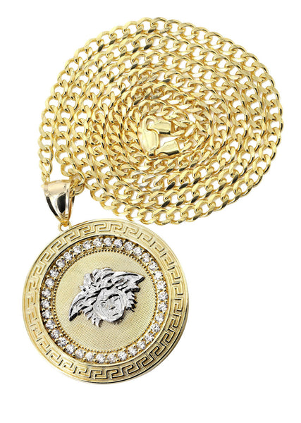 10K Yellow Gold Cuban Chain & Versace Style Pendant | Appx. 29.9 Grams