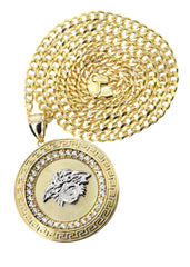 10K Yellow Gold Cuban Chain & Versace Style Pendant | Appx. 29.9 Grams chain & pendant FROST NYC