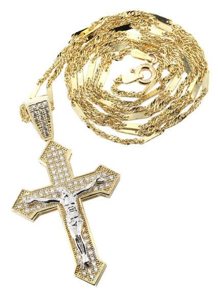 10K Yellow Gold Fancy Link Chain & Cz Gold Cross Necklace | Appx. 7.4 Grams