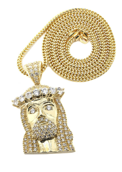 10K Yellow Gold Franco Chain & Cz Jesus Piece Chain | Appx. 23.2 Grams