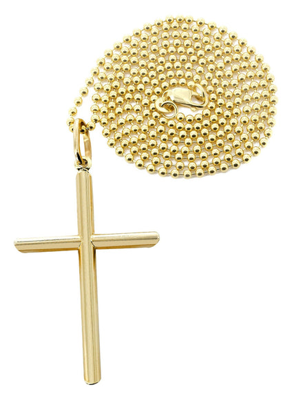 10K Yellow Gold Dog Tag Chain & Gold Cross Necklace | Appx. 8.6 Grams