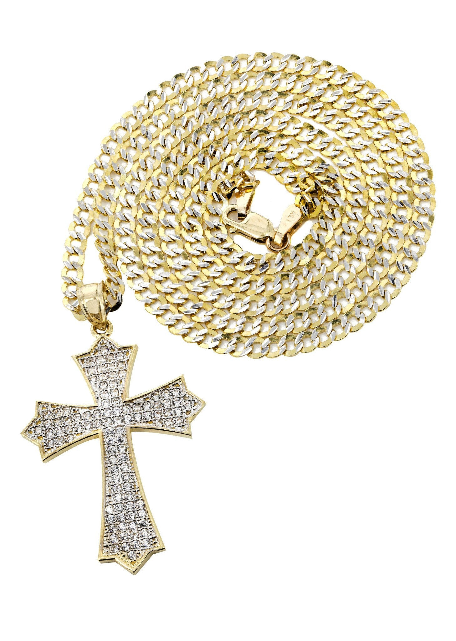10K Yellow Gold Pave Cuban Chain & Cz Gold Cross Necklace / Appx. 9.4 Grams