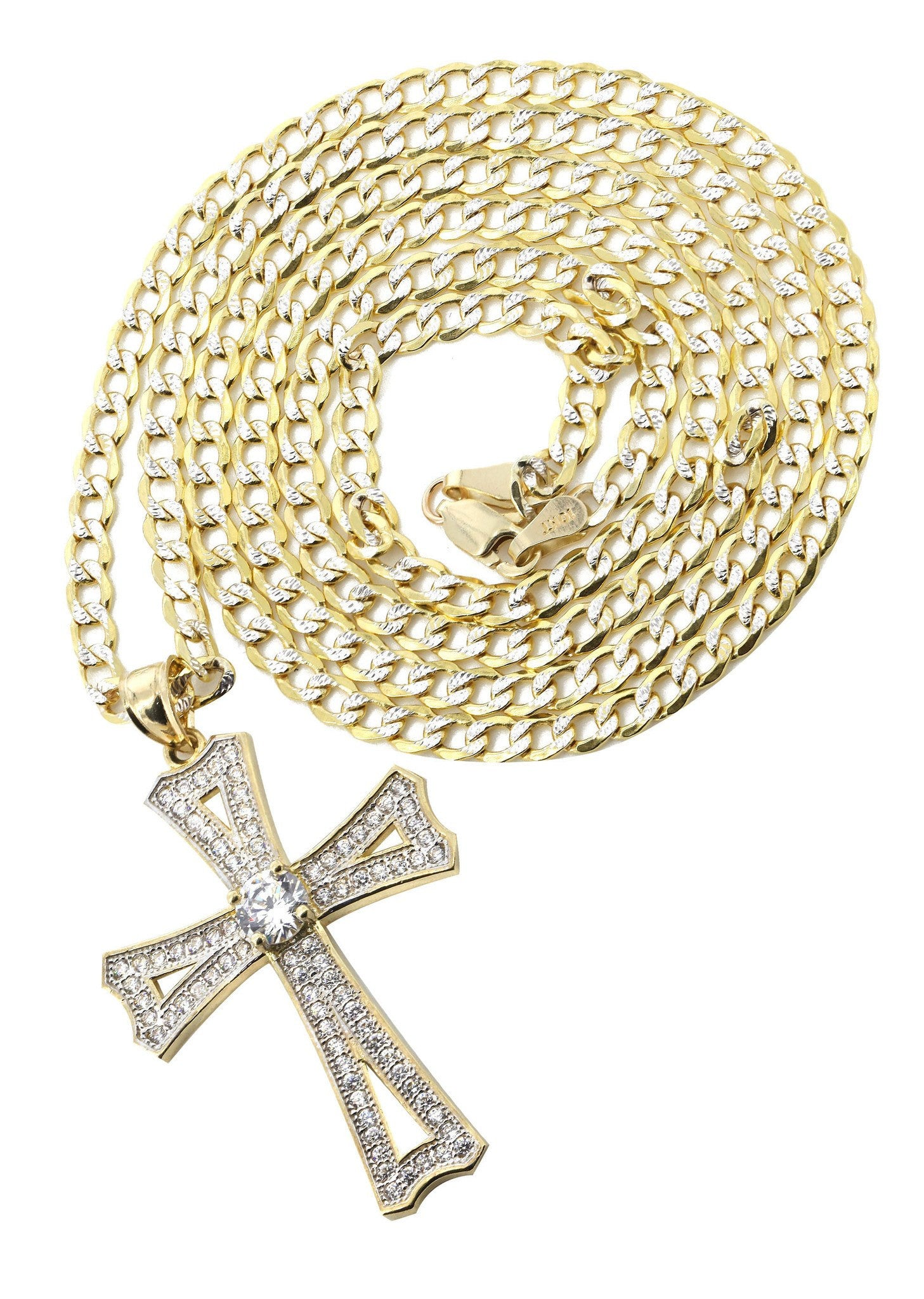 10K Yellow Gold Pave Cuban Chain & Cz Gold Cross Necklace / Appx. 8.9 Grams