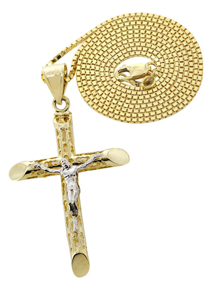 10K Yellow Gold Box Chain & Gold Cross Necklace | Appx. 7.6 Grams