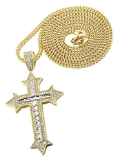 10K Yellow Gold Franco Chain & Cz Gold Cross Necklace | Appx. 14.7 Grams