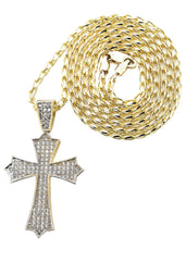 10K Yellow Gold Fancy Link Chain & Cz Gold Cross Necklace | Appx. 12.3 Grams