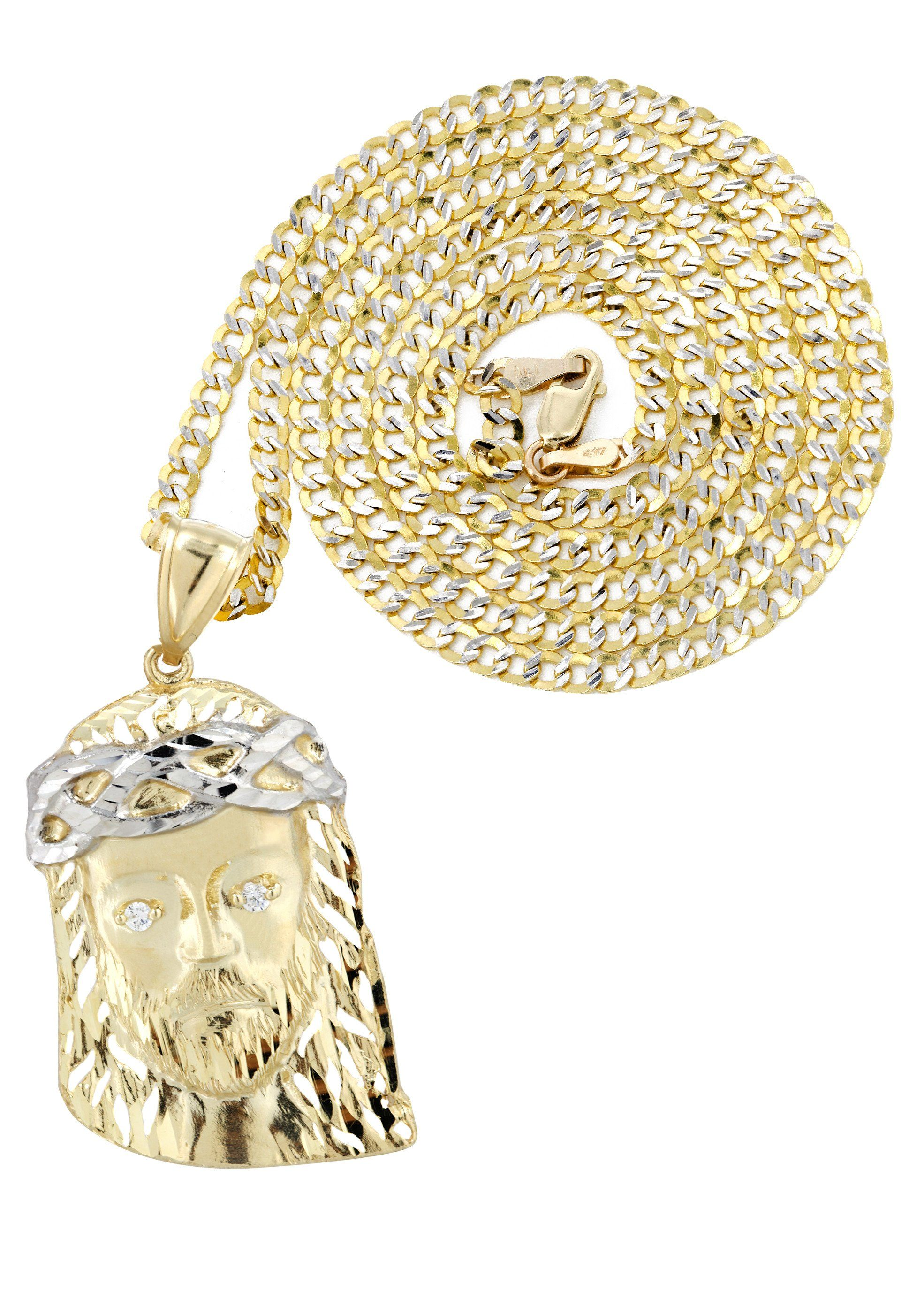 10K Yellow Gold Pave Cuban Chain & Jesus Piece Chain / Appx. 12.3 Grams
