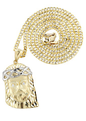 10K Yellow Gold Pave Cuban Chain & Jesus Piece Chain | Appx. 12.3 Grams