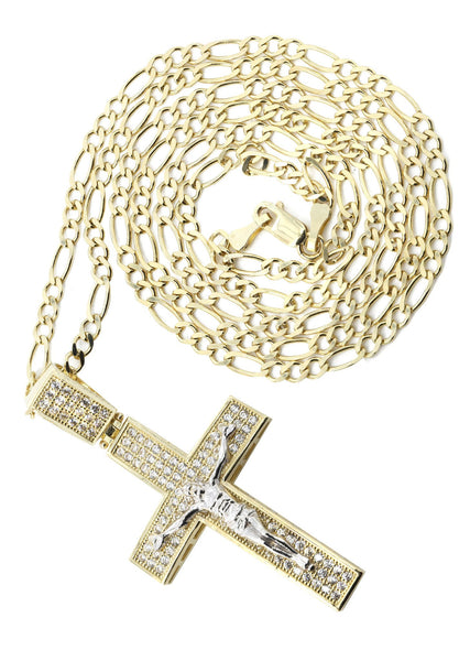 10K Yellow Gold Figaro Chain & Cz Gold Cross Necklace | Appx. 9.8 Grams