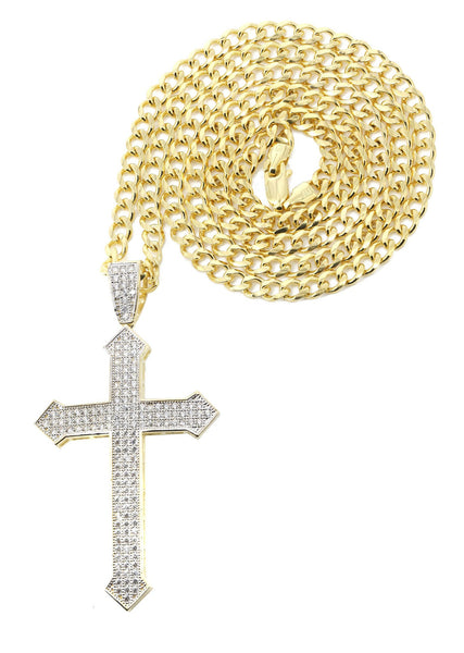 10K Yellow Gold Cuban Chain & Cz Gold Cross Necklace | Appx. 22.2 Grams