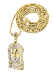10K Yellow Gold Franco Chain & Cz Jesus Piece Chain | Appx. 21.5 Grams chain & pendant FROST NYC