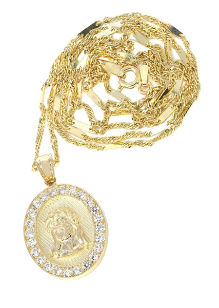 10K Yellow Gold Fancy Link Chain & Cz Jesus Piece Chain | Appx. 5.2 Grams