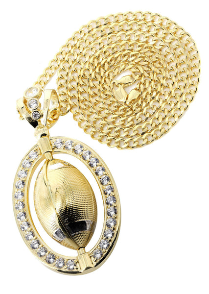 10K Yellow Gold Cuban Chain & Cz Football Pendant | Appx. 43.1 Grams