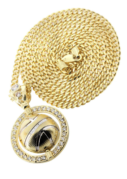 10K Yellow Gold Cuban Chain & Cz Basketball Pendant | Appx. 21.3 Grams